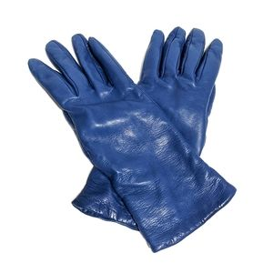 Bloomingdale's Blue Leather Cashmere Lined Gloves